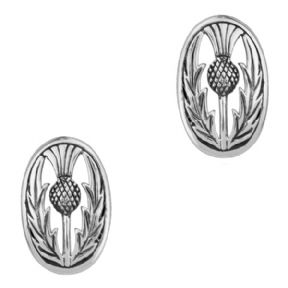 Scottish Thistle Silver Oval Stud Earrings 0539